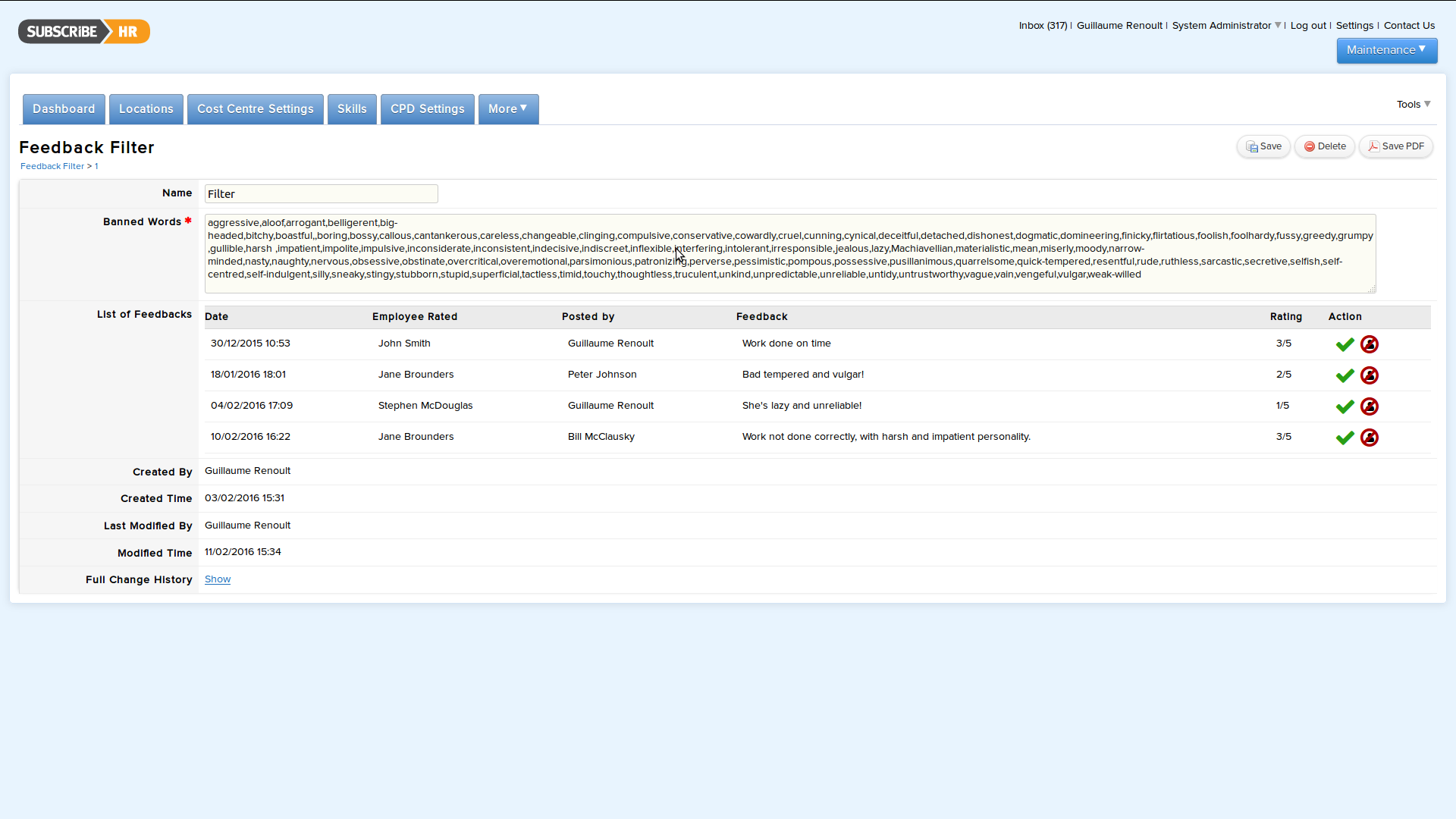 Subscribe-HR HR Software Performance Management Feedback Filter
